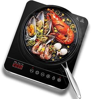 Aobosi Placa de inducción,placa de inducción, vidrio cerámico de 2000 vatios con pantalla digital LED placa de inducción de placa caliente, control de botón táctil del sensor, temporizador