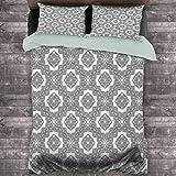 Toopeek Celtic Hotel Luxury Bed Linen Vintage Geométrico Diagonal Simétrico Encuadernación Celta Nudos Motivos Ilustración Poliéster - Suave y Transpirable (Queen) Negro Blanco