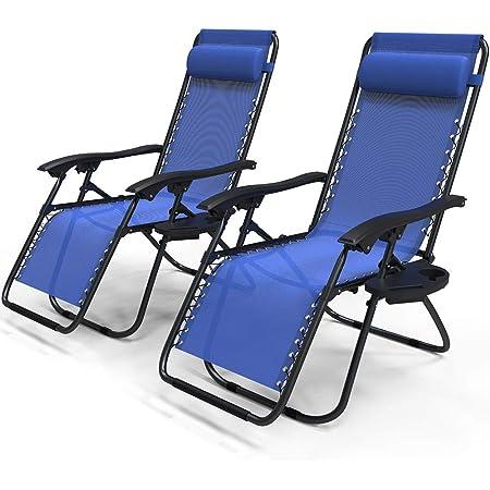 VOUNOT Lot de 2 Chaise Longue inclinable avec Support de Gobelet Amovible Chaise de Jardin Pliable en Textilène Chaise Longue avec Rembourrage de Tête Amovible Charge Max 120KG Fauteuil Relax Bleu