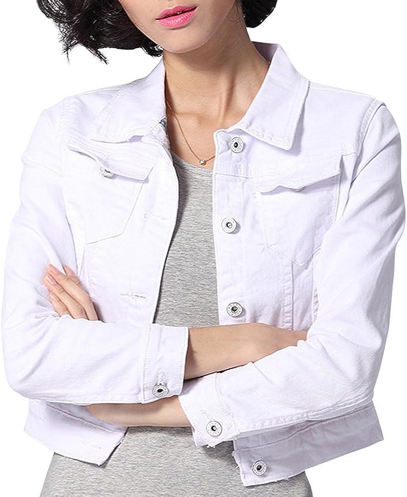 Dasior Women's Slim Fit Short Cropped Button Down Jean Denim Jacket with Pockets