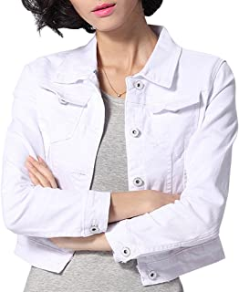 Women's Slim Fit Short Cropped Button Down Jean Denim Jacket with Pockets