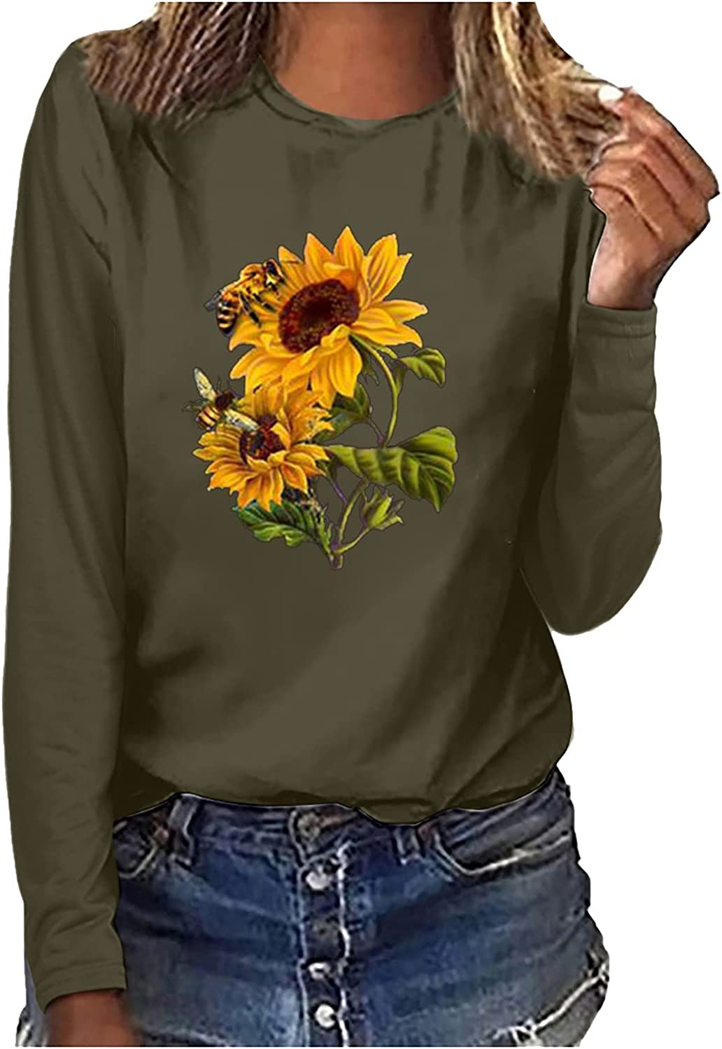 Women Autumn Casual Tops Long Sleeve Slim Sunflower Priented Blouse Crew-Neck Swing Novelty Shirts Comfy Newly Tshirts