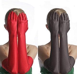 Women Black/White/Red Long Satin Strech Gloves Elegant Over Elbow Women Wedding Black Long Stretch Opera Gloves