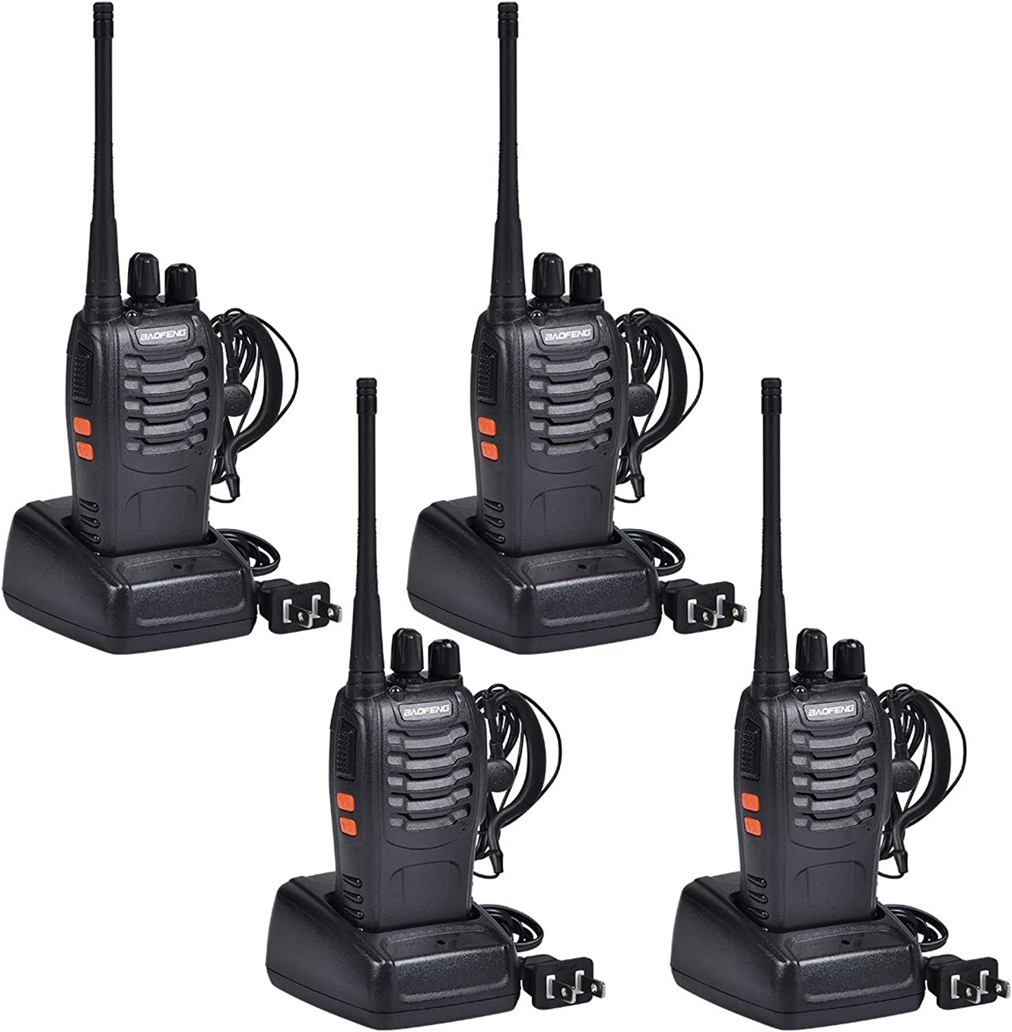 Baofeng Walkie Talkies Rechargable Long Range Walkie Talkie for Adults Two Way Radio Set 16 Channel 5 km Range 400470MHz Handheld Walky Talky Transceiver with Batteries Earpiece (Pack of 4)