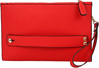 NIGEDU Women Envelope Clutch Bag PU Leather Female Day Clutches Large Purse Evening Bags with Wrist Strap