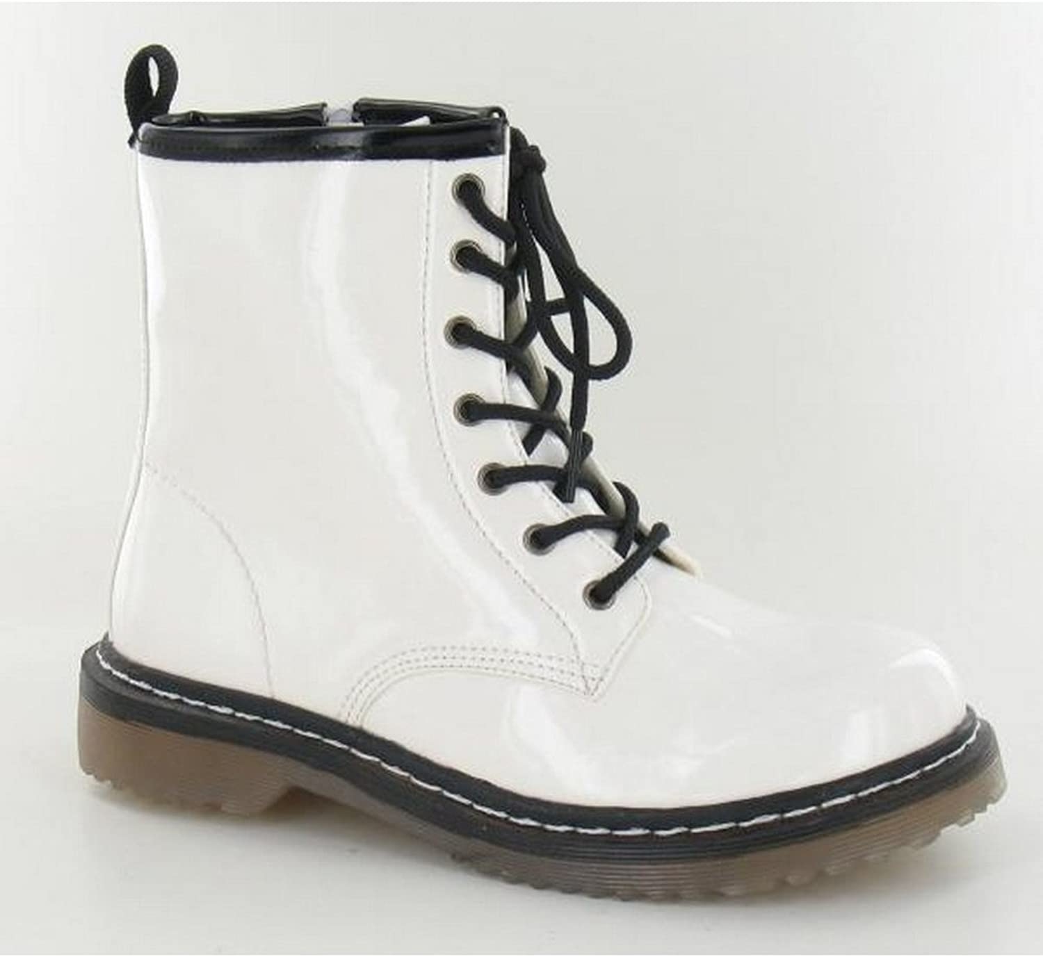 Spot On Womens Ladies Lace Up Contrast Boots