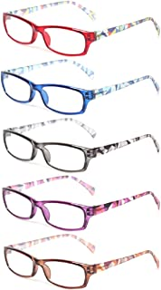 5 Pairs Fashion Ladies Reading Glasses Spring Hinge Pattern Design Readers