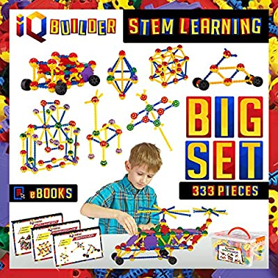 IQ BUILDER | STEM Learning Toys | Creative Construction Engineering | Fun Educational Building Blocks Toy Set for Boys and Girls Ages 5 6 7 8 9 10 Year Old + | Best Toy Gift for Kids | Activity Game