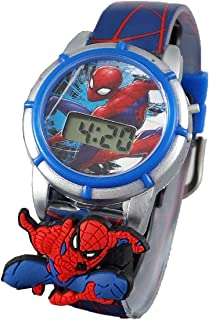 Spider Man Boys' Quartz Watch with Plastic Strap, Blue, 15 (Model: SPMKD575AZ)