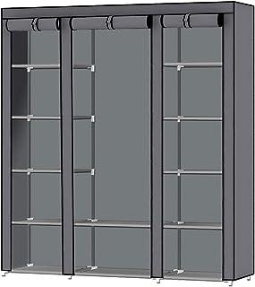 Intirilife Armario Tela Plegable 150x175x45 cm in Gris Ceniza – Guardar Ropa Organizador de Textil Tela Portátil con Crema...