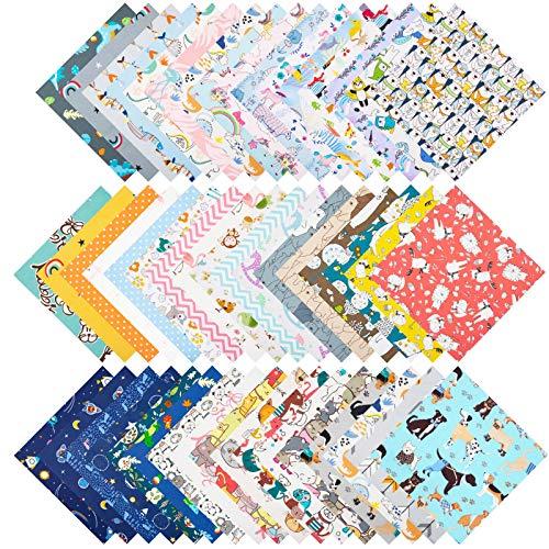 ZWOOS 50 Stück Stoffe zum Nähen Stoff aus 100{5849221cf14c40ba8d0c0ba62c7126450a2b36472a566e3b203f85cee9e15855} Baumwolle Muster Craft Stoff Bundle Squares zum DIY Baumwollstoff Meterware Stoffpaket Patchwork Stoffe Paket Stoffreste Cartoons, 25 x 25cm