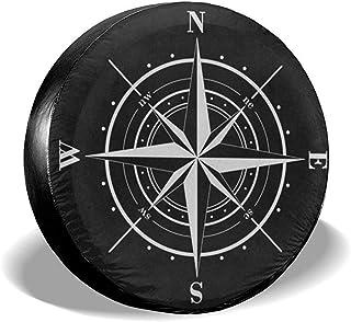 Y.Z.L. Reserveradabdeckung Kompass Windrose Schwarz Weiß Universal Reserverad Ersatzradabdeckung Für Anhänger Rv SUV 14 17IN