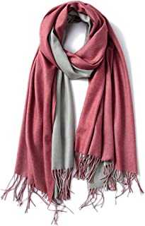 Cashmere Feel Scarf - Lightweight Scarfs for Women, Large Soft 2 Tone Shawls and Wraps (9 Colors Available)