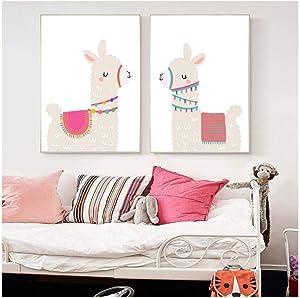 ONEAM ART Nursery Print Cartoon Llama Cactus Alpaca Wall Art Canvas Painting Picture Nordic Kid Room Posters And Prints Bedroom Decor-40X60Cmx2 Pcs No Frame