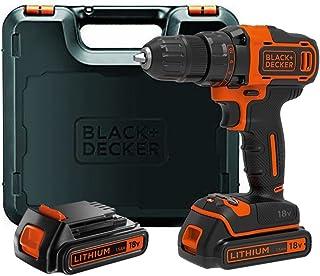 Black + Decker 1,5 Ah 2-gäng batteriborr med 2 batterier svart / orange