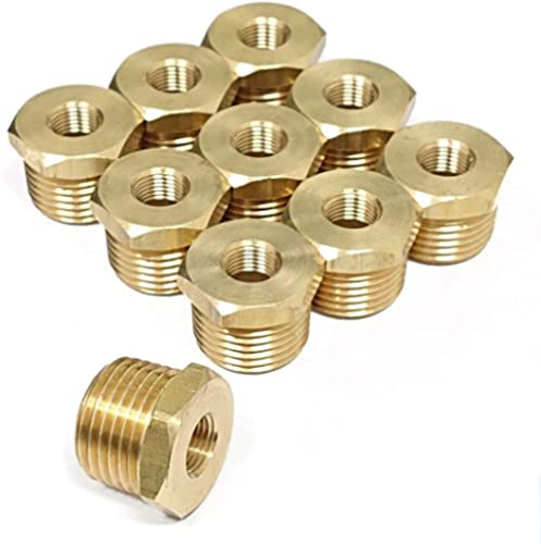 "Tanya Hardware 1/2"" NPT Male x 1/8"" NPT Female Brass Reducer Hex Bushing - 10 Piece"