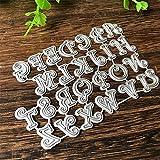 CA0boluoC - Fustelle in metallo a forma di lettere dell'alfabeto maiuscole, per fai da te, scrapbooking, biglietti, decorazioni in rilievo, colore: argento