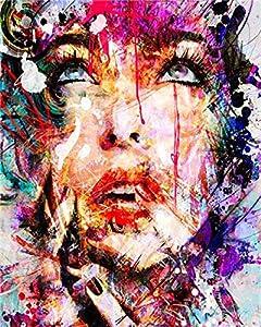 WENXIUF DIY Pintura por Números Kit Regalos, Pintura sobre Preimpresión Lienzo para Adultos Principiantes - Angelina,40x50cm Marco Decoración del hogar La Creatividad de Van Gogh