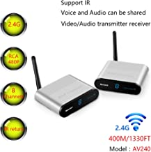 measy AV240 8 Channels 400M/1330FT 2.4G Wireless AV RCA Audio & Video Wireless Transmitter Receiver with IR Control for DVD/DVR/IPTV/CCTV Camera/TV