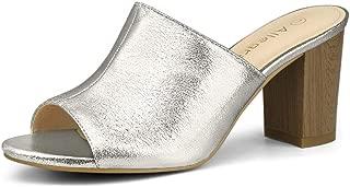 Allegra K Women's Open Toe Slide Chunky Heels Sandals