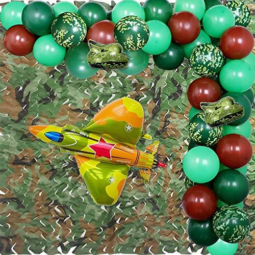 Decoraciones de fiesta de camuflaje Globos del ejército Guirnalda para fiesta militar Aire libre Tema Fiesta de cumpleaños Suministros 75 Pack