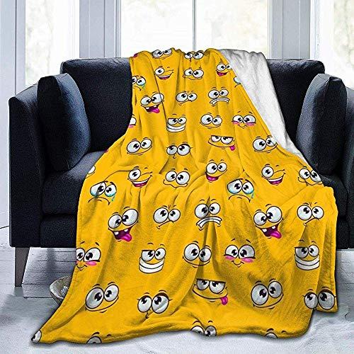 Searster$ Throw Blanket Lustiger Ausdruck-Karikatur-Smiley stellt Vlies-Decke-Flanell-Plüsch-Wurfs-Decke-flockige weiche Decke Microfiber für Couchsofabett, 102X127 cm gegenüber