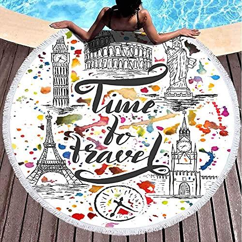 Juego de Toallas de Playa Redondas de Landmark New York Paris Rome London Lettering de Pen Time to Travel en Acuarela en Spray Microfibra de Gran tamaño de Secado rápido para Toallas de Piscina