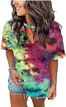 JQSTY Womens Tie Dye T-Shirt Short Sleeve Loungewear Choker Neck Cute Multi Color Tee Tops