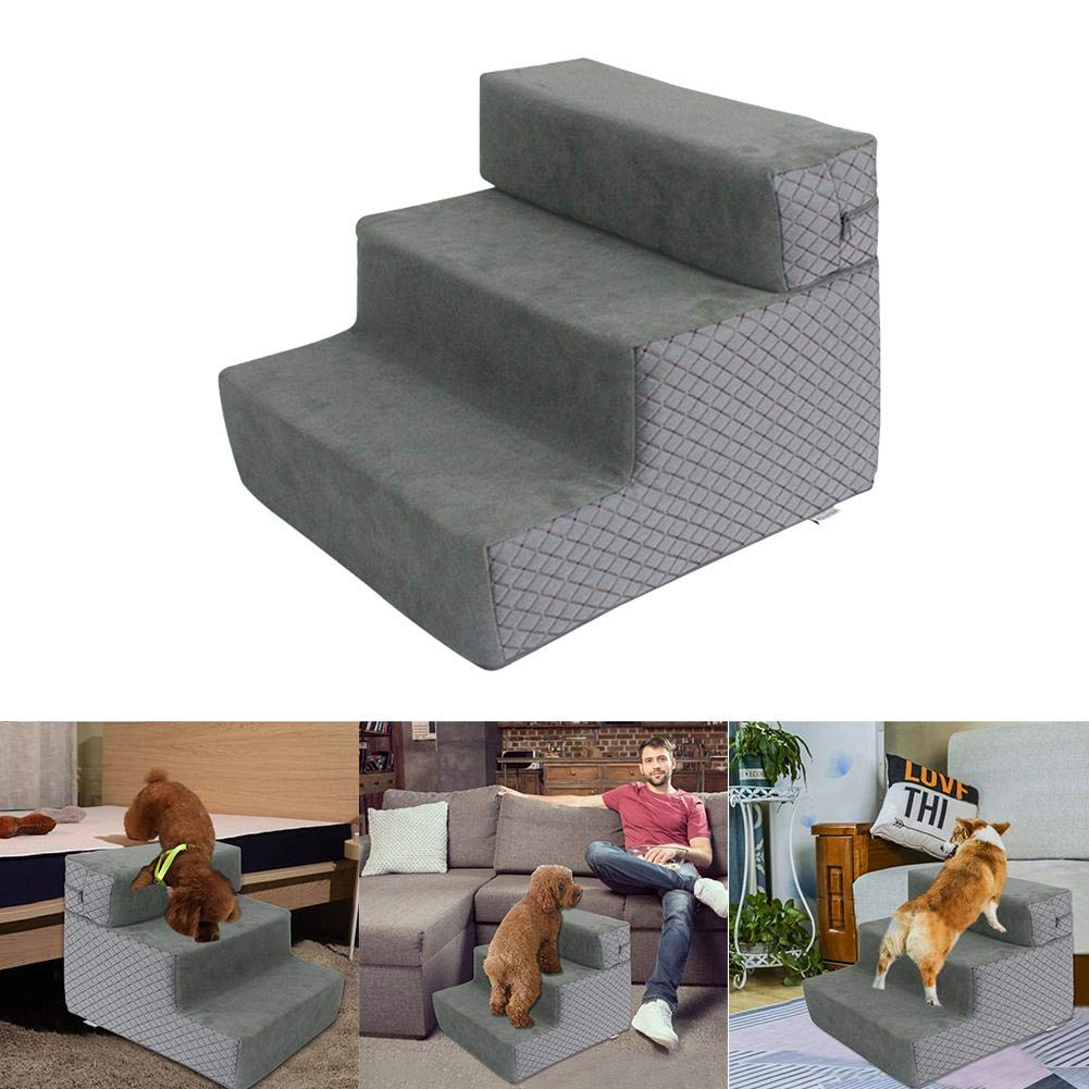 G-wukeer Pasos para Mascotas para Perros Y Gatos, Escaleras para Perros Escalera Escalera para Mascotas Esponja para Mascotas Escalera para Mascotas, Diseño De Escalera Desmontable De 3 Pisos: Amazon.es: Hogar
