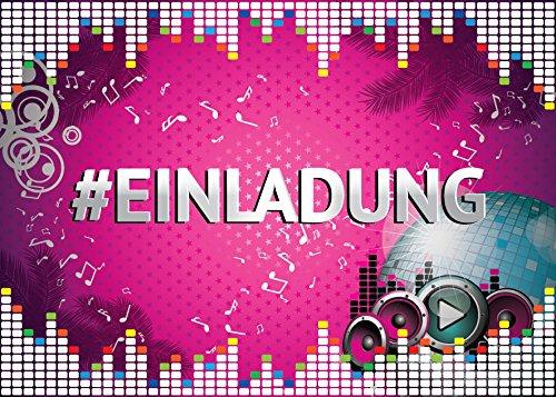 JuNa-Experten 12 Einladungskarten zum Kindergeburtstag Hashtag / #Einladung / Disco-Kugel / Disco-Party / Einladungen zum Geburtstag für Mädchen (12 Karten)