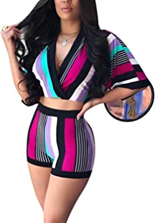 Women's Two Piece Club Sets Striped Crop Tops and Biker Shorts Suits Ruched 2 Pcs Colorblock Matching Set Tracksuit