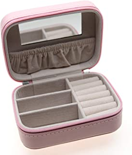 MISYLPH PU Leather Jewelry Box for Ring&Earrings Necklaces, with Mirror&Zipper, Small-Size, Portable (Small, Pink)