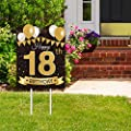 Large Happy 18th Birthday Party Yard Sign Black Gold 18 Birthday Yard Signs with Stakes and Outdoor Lawn Decorations