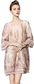 Women's 3/4 Sleeve Floral Embroidered Layer Ruffle Cocktail Prom Dress(Light Khaki,M)