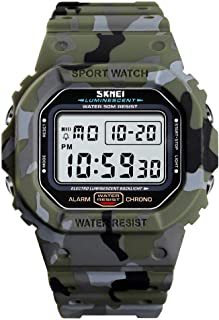 Mens Digital Watch, TOOCAT Casual Sports Rectangle Watches Outdoor 50M Waterproof Big Dial Multifunction Military Electronic Wristwatch for Teen Students