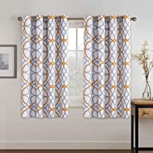 H.VERSAILTEX Blackout Curtains 63 Length - Window Treatment Home Decor Curtains Living Room Mustard and Grey Geo Pattern Thermal Insulated Grommet Blackout Drapes for Small Window, 2 Panels