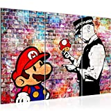 Tableau decoration murale Banksy Super Mario 120 x 80 cm - XXL Impression sur Toile Salon Appartment 3 Parties - prêt à accrocher - 303031c