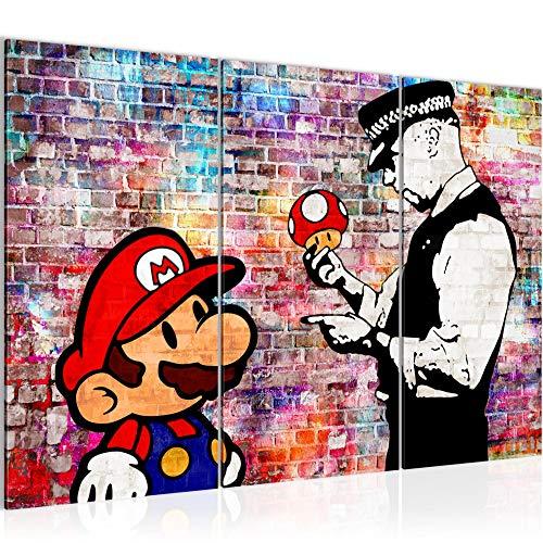 Runa Art Mario and Cop Banksy Bild Wandbilder Wohnzimmer XXL Grau Street Art 120 x 80 cm 3 Teilig Wanddeko 303031c