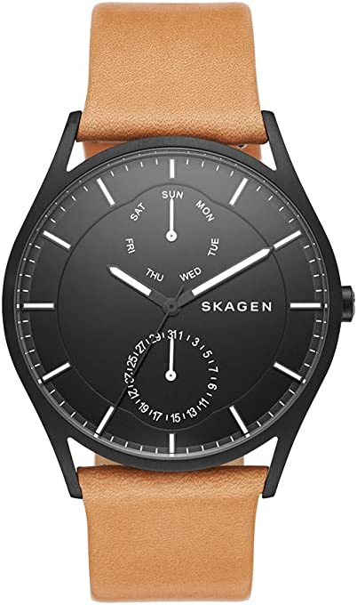 Skagen Denmark Men's Holst Watch in Black IP With Natural Leather Strap And Black Dial