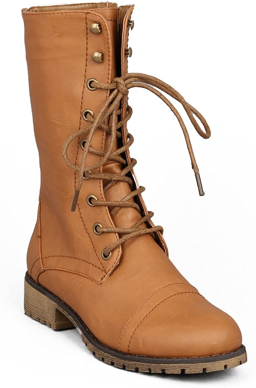 Nature Breeze Lug-11 Leatherette Lace Up Military Boot - Tan (Size  10)