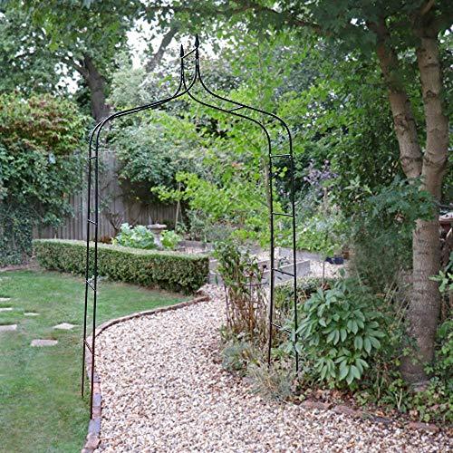 garden mile® 2.5m Black Metal Garden Arch Heavy Duty Strong Tubular Arbour...