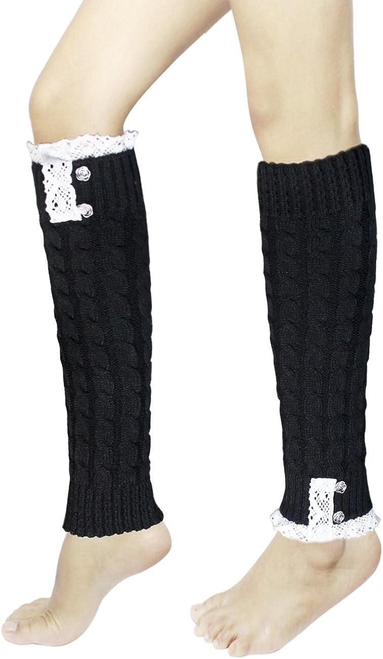 Dahlia Women's Leg Warmers, Knee High - Synthetic Wool, Lace Rose, Black