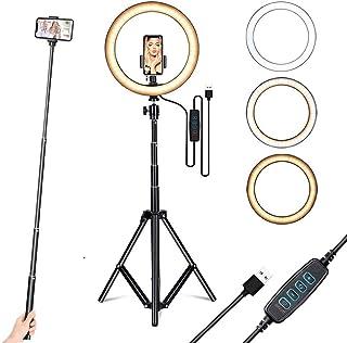 25,4 cm Selfie Ringlicht mit Stativ Ständer und Handyhalterung, dimmbare LED Lampe für Make up, YouTube, TIK Tok, Video Fotografie, kompatibel mit iPhone und Android