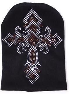 Cross Rhinestone Ski Snowboard Knit Beanie Hat Cap