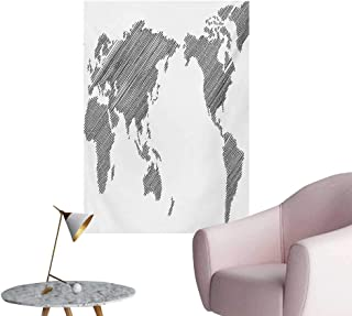 Anzhutwelve World Map Photo Wall Paper Sketchy Striped Continents Cartography Geography Countries Worldwide ArtCharcoal Grey White W20 xL28 Wall Poster