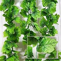 24本入り フェイクグリーン 人工観葉植物 アイビー 造花 藤 壁掛け 枯れない植物 インテリア飾り ホーム オフィス ベランダ ガーデン 結婚式 パーティー 飾り 植物装飾 葉っぱの長さ約9cmです