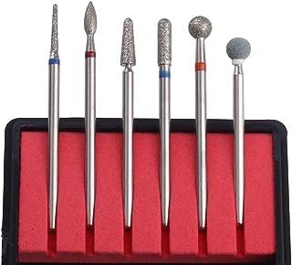 MZCMSL Russian Cuticle Drill Bit Set with Case,6pcs Cuticle Remover Bits (Needle,Ball,Flame,Cylinder,Tapered),Diamond Nail Bit Stone Bit