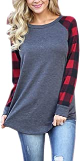Women's Funny Shirts with Raglan Striped Long Sleeve Tunic Top for Teen Grils