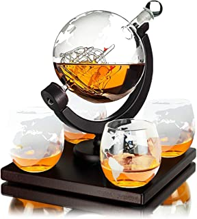 Whisiskey Whiskey Karaffe – Globus - Whisky Karaffe Set - Vatertagsgeschenke - 900 ml - Geschenke für Männer - Inkl. 4 Whisky Gläser, 4 Whisky Steine und Ausgießer