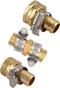 Hanobo Brass Garden Hose Repair Mender Kit with Stainless Clamp (5/8